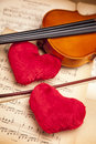 Beautiful 2 hears and violin! Royalty Free Stock Photography