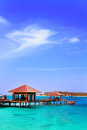 Beautiful aboriginal beachfront villa in Maldive Stock Images