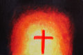 Beautiful abstract acrylic painting with holy cross the artwork consists religious christian symbol of in red color Stock Photos
