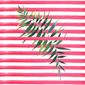 Beautiful abstract green tropical cute lovely wonderful hawaii floral herbal summer pattern of a palms on red lines background wat Royalty Free Stock Photo