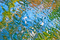 Beautiful abstract water reflection in blue, yellow and green colors Royalty Free Stock Photo