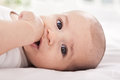 Beautiful adorable baby putting thumb in to the mouth Royalty Free Stock Images