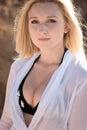 Beautiful adult sensuality woman on sand Stock Photos