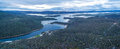 Beautiful Aerial Panorama of Lake Jindabyne and Snowy River, New Royalty Free Stock Photo