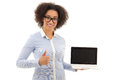 Beautiful african american business woman holding laptop with co copy space isolated on white background Stock Photo