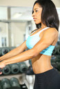Beautiful African American Fitness In Gym Room Stock Photo