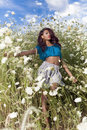 Beautiful African American girl enjoys summer day. Royalty Free Stock Photo