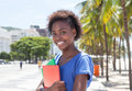 Beautiful african american student in the city Royalty Free Stock Photo
