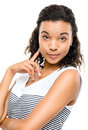 Beautiful african american woman posing isolated on white backgr background Stock Photo