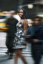 Beautiful african american woman walking on New York City street Royalty Free Stock Photo
