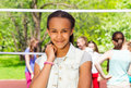 Beautiful African teen girl on the playground Royalty Free Stock Photo