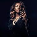 Beautiful African woman singing