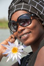 Beautiful african woman smiling saint louis senegal december typical in saint louis senegal Stock Photos