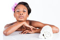Beautiful african woman in studio with towel young doing body care taking bath for young and skin and relaxation Royalty Free Stock Photography