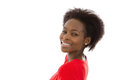 Beautiful afro american young woman in red isolated over white and happy Stock Photo