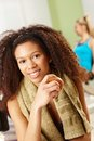 Beautiful afro girl resting at gym Stock Photography