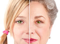 Beautiful ageing face eyes watchful eye of a healthy girl and senior woman concept isolated Royalty Free Stock Image