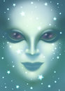 Beautiful alien woman face close up digital illustration of a Stock Photography