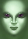 Beautiful alien woman face close up digital illustration of a Royalty Free Stock Image