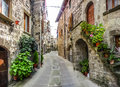 Beautiful alleyway in the historic town of vitorchiano lazio italy view old traditional houses and idyllic province viterbo Royalty Free Stock Photography