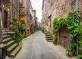 Beautiful alleyway in the historic town of Vitorchiano, Lazio, Italy Royalty Free Stock Photo
