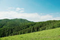 Beautiful alpine landscape with green wooded hills Royalty Free Stock Photo