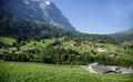 A beautiful Alpine village in Swiss Alps Royalty Free Stock Photo