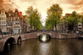 Beautiful amsterdam canals with typical houses Royalty Free Stock Photography