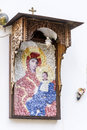 Beautiful ancient fresco of Mary on the wall  at Rila Monastery church-Bulgaria Royalty Free Stock Photo