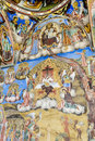 Beautiful ancient fresco on the wall  at Rila Monastery church. Royalty Free Stock Photo