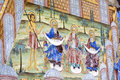 Beautiful ancient fresco on the wall  at Rila Monastery church-Bulgaria Royalty Free Stock Photo