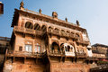 Beautiful ancient ramnagar fort in varanasi india building of with balconies and patterned arches the of Stock Images