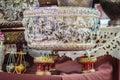 Beautiful Ancient Thai genuine silver bowl, retro engraved silve Royalty Free Stock Photo