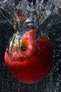 Beautiful apple in water bubble Royalty Free Stock Image