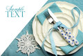 Beautiful aqua blue festive Christmas dining table place setting Royalty Free Stock Photo