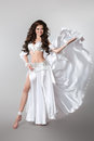 Beautiful Arabian bellydancer sexy woman in bellydance white cos Royalty Free Stock Photo