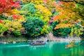 Beautiful Arashiyama river with maple leaf tree and boat around lake Royalty Free Stock Photo