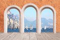 Beautiful arcade vintage wall with lake view to sail boats and mediterranean style mountains Stock Photography