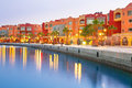 Beautiful architecture of hurghada marina at dusk in egypt Royalty Free Stock Photo