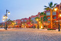 Beautiful architecture of hurghada marina at dusk in egypt Stock Images