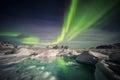 Beautiful Arctic glacier landscape with Northern Lights - Spitsbergen, Svalbard