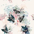 Beautiful artistic pattern with flowers and butterflies in sprin