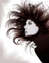 Beautiful artistic portrait illustration of woman Royalty Free Stock Images