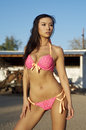 Beautiful Asian bikini model Royalty Free Stock Photos
