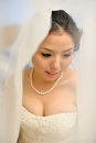 Beautiful asian bride smiling under the veil on wedding day Stock Photography