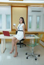Beautiful asian business woman standing at her desk in office Stock Photography
