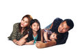 Beautiful asian family portrait smiling isolated over white Stock Images