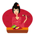 Beautiful asian girl enjoy sushi illustration Stock Photography