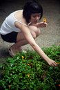Beautiful Asian girl plucking flowers Royalty Free Stock Image