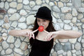 Beautiful Asian girl with a red ball Stock Photos